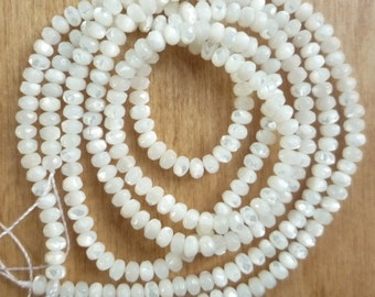 NEW  Mother of pearl faceted rondelle beads (2x4mm) FULL STRAND