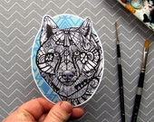 Grey Wolf Sticker - Waterproof Decal