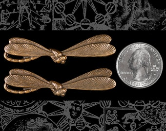 Two Antique Brass Dragonfly Pendant Wraps * AB-W25