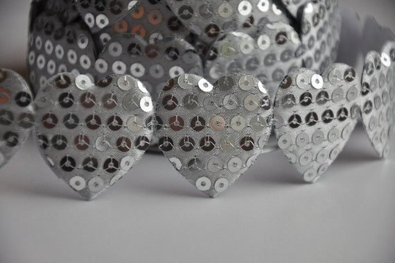 Silver Sequin Hearts~Self Adhesive