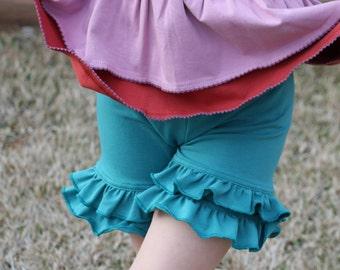 green blue Jungle green knit double ruffle shorts shorties bloomers sizes 12m - 12 girls
