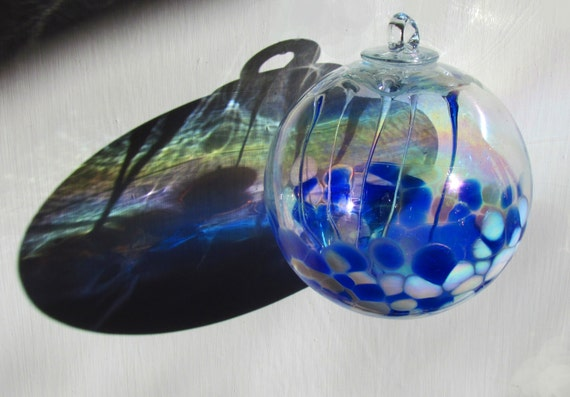 Large hand blown glass spirit friendship witch ball mottled