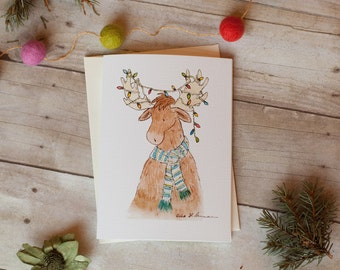 Woodland Christmas Card- Merry Moose Card 5 x 7 in Single Card Pack of 12 Pack of 24- Blank Christmas Card- Whimsical Card- Watercolor