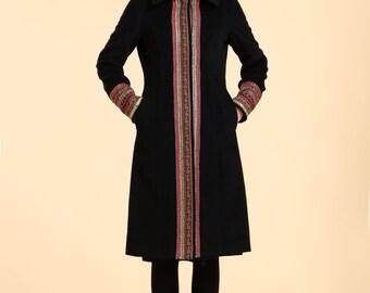 Cozy Elegance Ethnic Style Wool-Cashmere Blend  Long Winter Coat/ Black / Navy/ Dark grey/ RAMIES