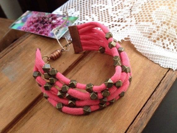 Sweet Coral with Antique Bronze Faceted Squares Fabric Bracelet Wrist Cuff