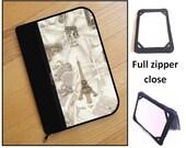 personalized HARD case - ipad mini case/ kindle case/ nook case/ samsung case/ others - full zipper close - paris map