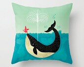 "The Bird and The Whale -  illustrated Cushion Cover / Throw Pillow Cover - Children's room - Home Decor - (16"" x 16"") by Oliver Lake"