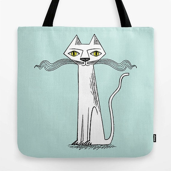 "The Cat's Whiskers - light green - illustrated Tote Bag (18"" x 18"") by Oliver Lake - iOTA iLLUSTRATiON"