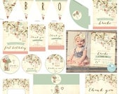 Bird cage First Birthday Invitation  Party Pack - Cottage Chic Vintage style with rustic bird cage tree Cupcake Toppers Favor Tags Banner