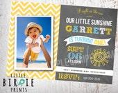 SUNSHINE Invitation Birthday Party Chalkboard BOY Sun -  You are my Sunshine First Birthday