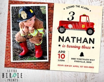 FIRE TRUCK INVITATION  Vintage Firetruck Birthday Party Fire Truck Brick - Fireman invitation - Fire Engine Firetruck party Photo  Printable