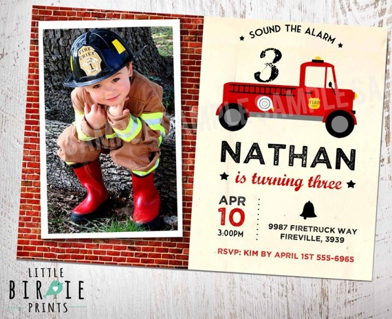 FIRETRUCK Birthday INVITATION  Vintage Firetruck Birthday Pary Invitation Fire Truck Invitation Fireman invitation -  Rescue invitation