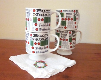 Vintage Christmas Demitasse Cups, Hot Chocolate Cups, Set of Four, Merry Christmas in Many Languages
