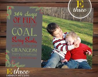 Printable Christmas Card - Lump of Coal, Naughty or Nice Funny Photo Christmas Card
