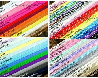 60 Yard 5/8 inch Fold Over Elastic Wholesale - 1 yard of EVERY Color and Printed Fold Over Elastic - DIY Hair Ties