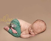newborn boy plaid pants with pockets (Jacob) - photography prop - green cream, white, grey, black