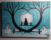 Girl and Snowman with Dog Painting- What Can I See  - 12 x 9, acrylic on canvas, ready to hang, ORIGINAL by Michael H. Prosper