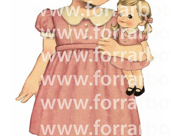 Vintage fabric paper doll G. Big size 20cm (8 inches)