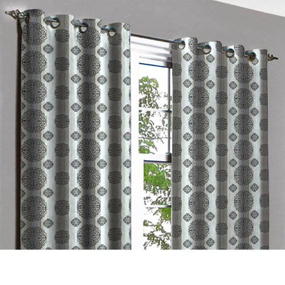 Black grey circles grommet lined curtain in textured jacquard for Gray curtains texture