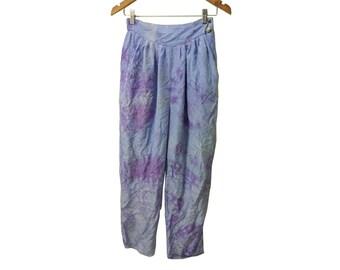 90s Boho Lavendar Tie Dye High Waist Silk Pants One of a Kind DIY Elegant