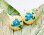 Floral stud earrings - spring flowers - hand embroidery - textile jewelry - Summer collection by Skrynka - e004yellow