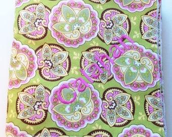 Monogrammed Baby Blanket - Amy Butler Lotus Lime fabric - Minky Blanket - Personalized Baby Blanket