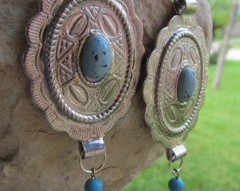 Vintage upcycled Silver and Turquoise Southwest Style Earrings E 46
