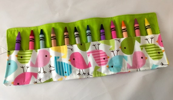 Crayon Roll / Crayon Caddy- 12 Crayons Included - Urban Zoologie Birds Spring W/ Green Background -  Ready to Ship