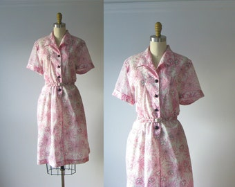 SALE vintage 1950s dress / 50s dress / Cherry Blossoms