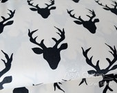 Buck Forest Night print, Hellow Bear Collection, Cotton Fabric, Quilting Weight textile, Art Gallery Designer Cotton
