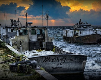 Anchored Fishing Boats at Sunset with Storm Approaching in the Channel by Fairport Upper Peninsula Michigan No.11474 A Seascape Photograph