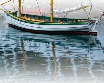 Sail Boat with Reflections Anchored in Halifax Harbor in Nova Scotia Canada No.59 A Fine Art Nautical Boat Seascape Photograph