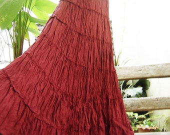Ariel on Earth - Boho Gypsy Long Tiered Ruffle Cotton Skirt - Red Wine