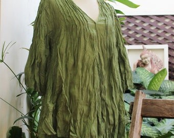 Comfy Cotton Blouse - Olive Green