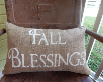 FALL BLESSINGS Lumbar Style Fall Thanksgiving Painted Burlap Throw Accent Pillow Home Decor