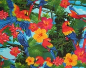 Colorful Tropical Parrot Print Pure Cotton Fabric--One Yard