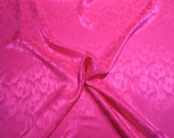 Fuchsia Flame Stitch Design Pure Silk Jacquard Fabric--One Yard