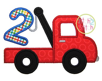 "Tow Truck Number 2 Applique Design, Shown with our ""dp Tuesday"" Font NOT Include, sizes 4x4, 5x7, & 6x10 INSTANT Downloads"