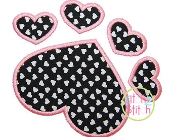 """Heart Paw Applique Design, Sizes 4x4, 5x5, & 6x6, and 7x7, Shown with our """"Hambone"""" Font NOT Included, INSTANT DOWNLOAD available"""