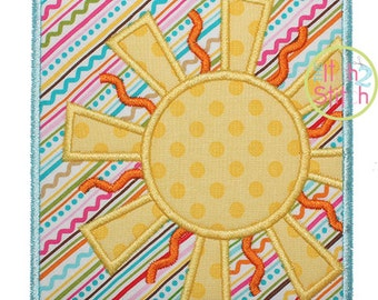 """Sunshine Box Applique Design For Machine Embroidery, Shown with our """"Empress"""" Font NOT Included, INSTANT DOWNLOAD now available"""