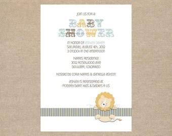 DIY / Circus Lion Baby Shower Invitations / printable