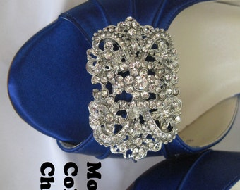 Something Blue Bridal Shoes with Crystal Brooch Bridesmaids Blue Wedding Shoes Over 100 Custom Color Choices