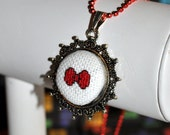 Bowtie Micro Cross-Stitch - Pixel Point Pendant Necklace