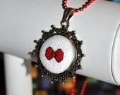Bowtie Micro Cross-Stitch - Pixel Point Pendant Necklace