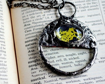 Terrarium Jewelry, Real Magnifying Glass Pendant, Real Moss Encased Under Glass, Terrarium Necklace, Moss Jewelry, Long Necklace (2250)