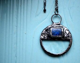 Lapis Necklace, Lapis Lazuli, Magnifying Glass Pendant, Natural Lapis Gemstone, Magnifier Necklace, Unisex Jewelry, Long Necklace (2278)