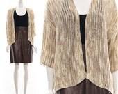 1990s LOOSE KNIT Sweater Jumper CARDIGAN / Ombre Oatmeal Sweater Coat Slouchy Boyfriend Nubby One Size o/s