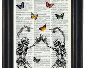 BOGO SALE Two Skeletons Art Prints with HHP Signature Butterflies Original Design Dictionary Art Wall Decor