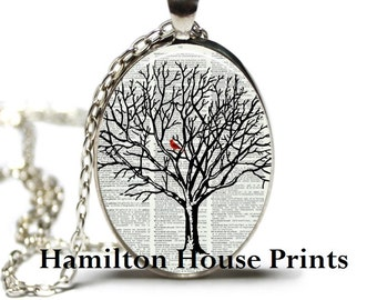 Cardinal in Tree Dictionary Art Print Pendant Dictionary Necklace Hamilton House Prints Orginal Jewelry Cardinal Jewelry