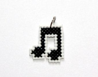 Music Note Cross Stitch Pendant
